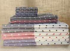 Polka Dot Chambray Towels- so so pretty