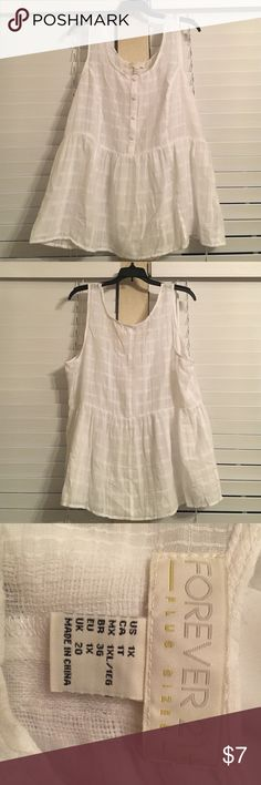 White peplum blouse White peplum top with buttons down the front. Never been worn! Forever 21 Tops Blouses