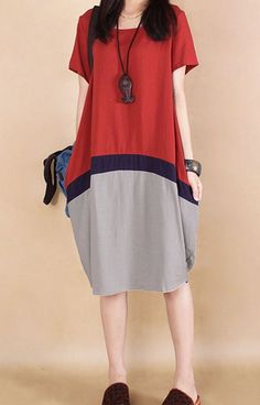 Women loose fitting over plus size red gray dress linen long tunic casual chic #Unbranded #dress #Casual