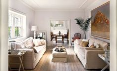 Interior walls are often plain white with just a hint of softness to them – try Dulux Natural White.  Wall panelling is also very Hamptons chic, even in bathrooms.  Buy wooden panelling such as tongue and groove from hardware stores – visit www.easycraft.com.au for ideas. I find that by adding subtle panelled detailing to an otherwise plain room gives it so much more style and interest. Paint as you would your doors and skirting boards, I like 'off white' enamel in a low sheen finish.
