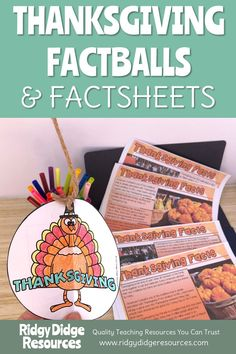 Factballs are a unique craftivity that get your students involved in practising research and note-taking skills! These Thanksgiving Factball templates and fact sheets make a great addition to your literacy centres or for Fast Finishers. Thanksgiving Classroom Activities, Thanksgiving Facts, Holiday Activities, Reading Resources, Teacher Resources, Teaching Ideas, Fast Finishers, Celebration Around The World, History Education