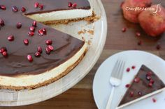 #cheesecake with pomegranate #chocolate #ganache | CherylStyle.com