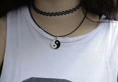 ** yin yang yinyang choker necklace grunge 90s Nineteen Nineties pageant summer time
