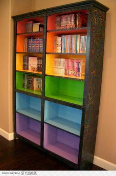 colour bookcase for Heather's rare books - or my marriage books