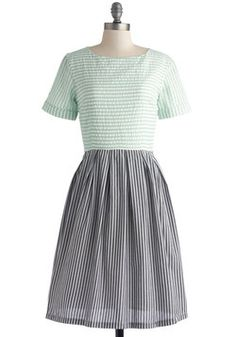 I love how casual this dress is, mostly because of the sleeves. Train Station Platform Dress in Two-Tone, #ModCloth