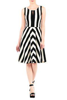 Chevron Stripe Jersey Knit Dresses,