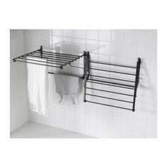 IKEA - PORTIS, Stendibiancheria da parete, Puoi chiuderlo facilmente e tenerlo fermo con i ganci integrati quando non lo usi.Adatto agli ambienti umidi.