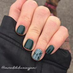 "Finders Keepers lacquer is this gorgeous dark ""Maine green"" (yea, I just made that a thing) with the ever so slight teal-ish tint. #jamberry #diynails #naillacquer #nailart #greennails #accentnail #finderskeepersjn #grenadajn"