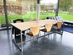 Schreibtisch industrial  Tafel vierkant (140x140 cm) | Tafel met steigerbuis ...