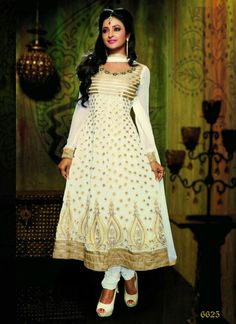Off White & Golden Faux Georgette Party Wear Churidar Kameez