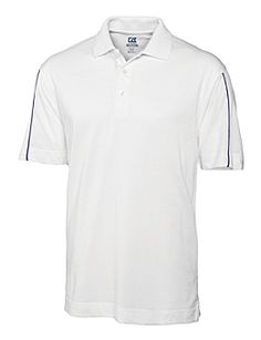 Men's CB DryTec™ Rival Polo. Jersey. Double faced collar. Three-button placket. Back yoke. Color blocking on back. Piped back body. Side vents. Open sleeves. Pieced sleeve. Dyed to match buttons. Logo buttons. C Pennant at left sleeve hem. Colorblock or pieced. Tonal C logo on left sleeve hem. Colors: White/College Purple / White/Tour Blue. Sizes: S, M, L, XL, XXL, XXXL $50.00 range