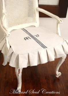 Tips On Making Slipcovers With Drop Cloths from Karen Norman via MissMustardSeed.com. What a great idea for a dressing table chair.