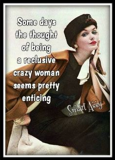 Some days the thought of being a reclusive crazy woman seems pretty enticing. most days ; Vintage Humor, Retro Humor, Retro Funny, Funny Shit, Hilarious, Funny Stuff, Up Book, It Goes On, I Smile