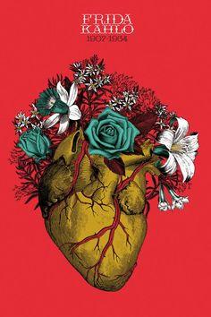 New Wall Paper Celular Frida Khalo 26 Ideas Fridah Kahlo, Frida Art, Medical Art, Heart Painting, Anatomical Heart, Anatomy Art, Great Tattoos, Modern Cross Stitch, Sacred Heart