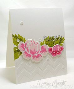 Stamps: Rosie Posie (Papertrey) Strictly Sentiments (Wplus9)  Ink:  Pink Pirouette, Rose Red, Lucky Limeade, Old Olive (SU!), Hibiscus Burst...