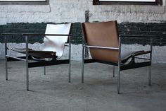 A Perfect Pair of Charles Pollock Mid Century Modern Leather Sling Chairs #657 for Knoll (U.S.A., 1960) | Flickr - Photo Sharing!