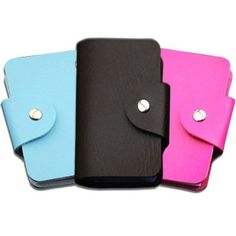 New ID PU Leather Credit Card Holder with 24 Plastic Card Slots Protector and Small Slim Organizer Portable Case Holder with Business Card Unisex Wallet for Travel Security Plastic Card, Card Case, Pink Blue, Pu Leather, Business Cards, Milan, Fashion Accessories, Card Holder, Unisex