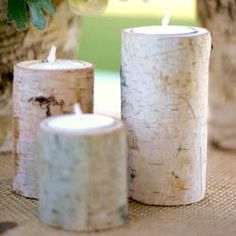 alice brans posted Birch Bark Log Votive Tea Light Candle Holders Rustic Woodland Wedding Decorations to their -wedding ideas- postboard via the Juxtapost bookmarklet. Rustic Candles, Rustic Candle Holders, Candle Holder Set, Tealight Candle Holders, Centerpiece Decorations, Wedding Centerpieces, Wedding Decorations, Prom Decor, Flower Decoration