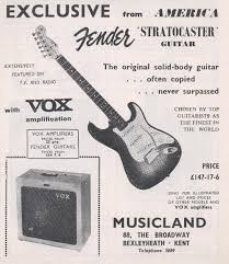 1960 Advertisement for the Fender Stratocaster Guitar & Vox Fender Bass Guitar, Fender Electric Guitar, Fender Guitars, Fender Acoustic, Fender Stratocaster, Guitar Prices, Guitar Images, Music Images, Guitar Posters