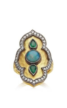 Tsavorite And Opal Ring by Arman Sarkisyan for Preorder on Moda Operandi