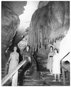 Entrance to Falls Room inside Ruby Falls cave 1950's
