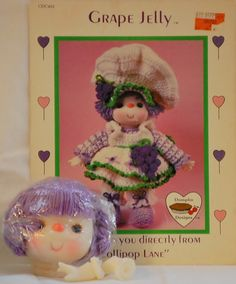 Dumplin Designs Grape Jelly Crochet Pattern Leaflet & Yarn Hair Doll