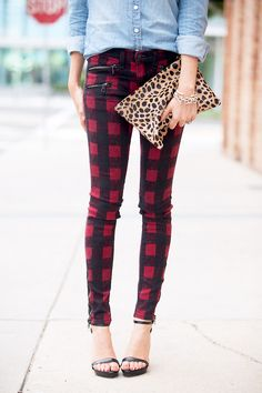 plaid pants + chambray + leopard clutch