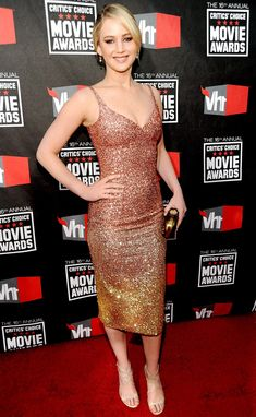 At the 16th Annual Critics Choice Movie Awards in Los Angeles, Lawrence opted for this shimmering ombre sequin dress. Description from m.usmagazine.com. I searched for this on bing.com/images