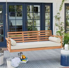 Deep Seat Wood Porch Swing with Cushion and 2 Bolster Pillows
