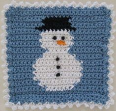 Snowman Block Dishcloth -  by Maggie Weldon ~ free pattern