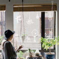 Leuke hangende en staande planten met tuingereedschap raamtekening, voor als je geen groene vingers hebt, maar wel gek op plantjes bent!