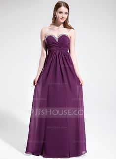 Empire Sweetheart Floor-Length Chiffon Prom Dress With Ruffle Beading (018025602)
