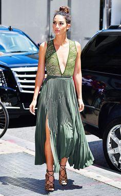 lily aldridge wearing bodysuit green skirt