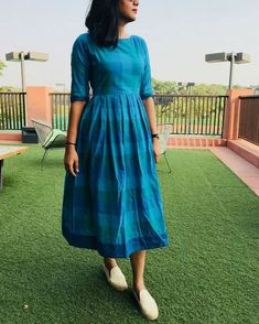 Blue Gingham Dress Source by sonalpin dress Kalamkari Dresses, Ikkat Dresses, Long Gown Dress, Frock Dress, Saree Dress, Frock Fashion, Fashion Dresses, Casual Frocks, Gingham Dress