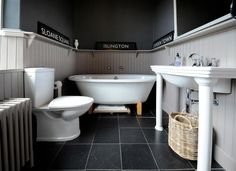 An inspirational image from Farrow and . This is our bathroom which we have painted using Downpipe on the walls and Charleston grey on the woodwork. Shared Bathroom, Master Bathroom, Country Interior, Interior And Exterior, Grey Woodwork, Downstairs Toilet, Brickwork, Farrow Ball, Reno