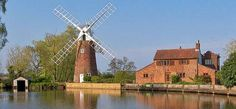 Norfolk Windmills History of Norfolk Broads Mills in East Anglia Norfolk Broads, Architectural Features, Golden Gate Bridge, Places Ive Been, Beautiful Places, England, Sunset, History, Ant