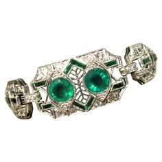Platinum, Diamond Emerald Bracelet, Art Deco Filigree, GIA from lakegirlvintage on Ruby Lane