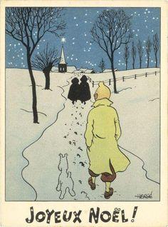 Tintin and Milou, Merry Christmas Vintage Christmas Cards, Christmas Art, Xmas, Gravure Illustration, Illustration Art, Superman, Batman, Bd Art, Fictional Heroes