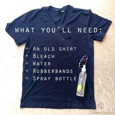 How to Tie Dye a Shirt with Bleach: Carmen Varner Tye Dye Bleach, Bleach Dye Shirts, Diy Tie Dye Shirts, T Shirt Diy, Bleach Pen, Tie Dye With Bleach, Gebleichte Shirts, Band Shirts, Reverse Tye Dye