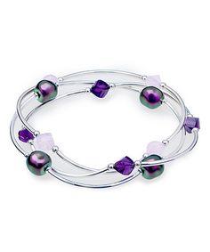 Loving this Swarovski® Crystal Purple & Silvertone Bracelet Set on #zulily! #zulilyfinds  $24.99