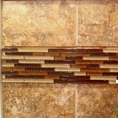 Level 3 Backsplash Example with Listello - 13x13 Tile laid square with a glass listello running through the middle