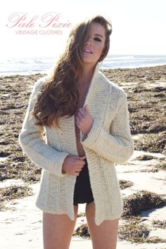 Off White vintage 70s wool cardigan jacket in size by PalePixie, $90.00