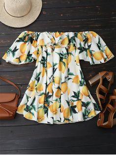 Off Shoulder Ruffle Lemon Beach Dress - WHITE S