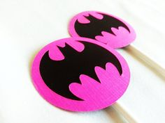 Batman Birthday party Cupcake toppers 12 count Pink by JazzyBug, $8.00
