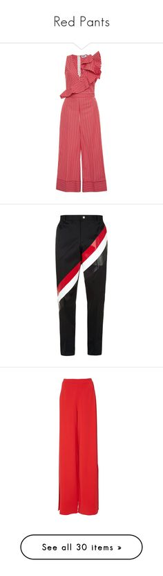 """""""Red Pants"""" by kikikoji ❤ liked on Polyvore featuring jumpsuits, jumpsuit, dresses, striped, pink, red jump suit, striped jumpsuit, jump suit, pink jumpsuits and red jumpsuit"""