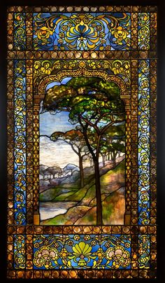Louis Comfort Tiffany - Landscape Window, Leaded Glass, Pebbles - Stunning ***I never cared for Tiffany glass until I saw it in person in Winter Park, Fl. Tiffany Glass, Tiffany Stained Glass, Stained Glass Art, Stained Glass Windows, Tiffany Art, Louis Comfort Tiffany, Art Design, Glass Design, Mosaic Art