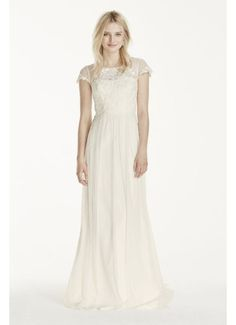 Of course they don't have my size but it's basically my dream dress  Cap Sleeve Tulle Sheath with Lace Applique WG3769