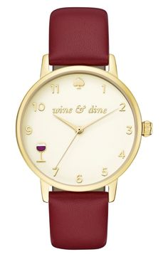 Heading to happy hour with this darling Kate Spade watch. 8 o'clock is marked by a full-bodied glass of merlot on this polished round watch with a deep-red leather strap and gold dial.