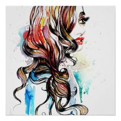 Shop Abstract Watercolor ink colorful woman makeup Poster created by BeautyAndFashion. Watercolor Portraits, Abstract Watercolor, Watercolor And Ink, Abstract Art, Art Hipster, Makeup Poster, Illustration Art Nouveau, Baroque Art, Hair And Beauty Salon