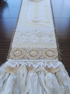 Burlap and Lace Table Runner by LaPetitePrairie